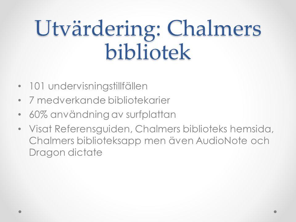 Utvärdering: Chalmers bibliotek 101 undervisningstillfällen 7 medverkande bibliotekarier 60% användning av surfplattan Visat Referensguiden, Chalmers biblioteks hemsida, Chalmers biblioteksapp men även AudioNote och Dragon dictate