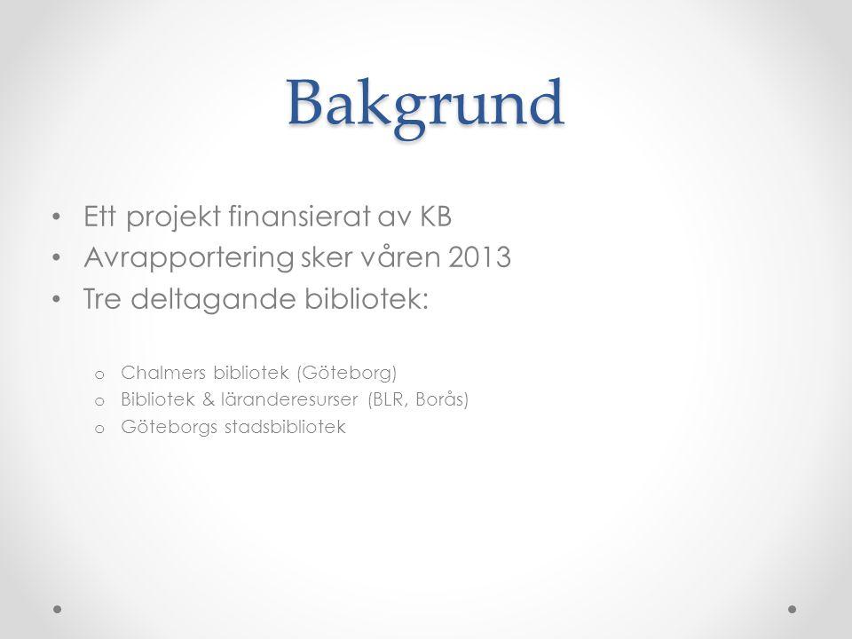 Pågående projekt Dragit igång på allvar i början av september Inga definitiva resultat