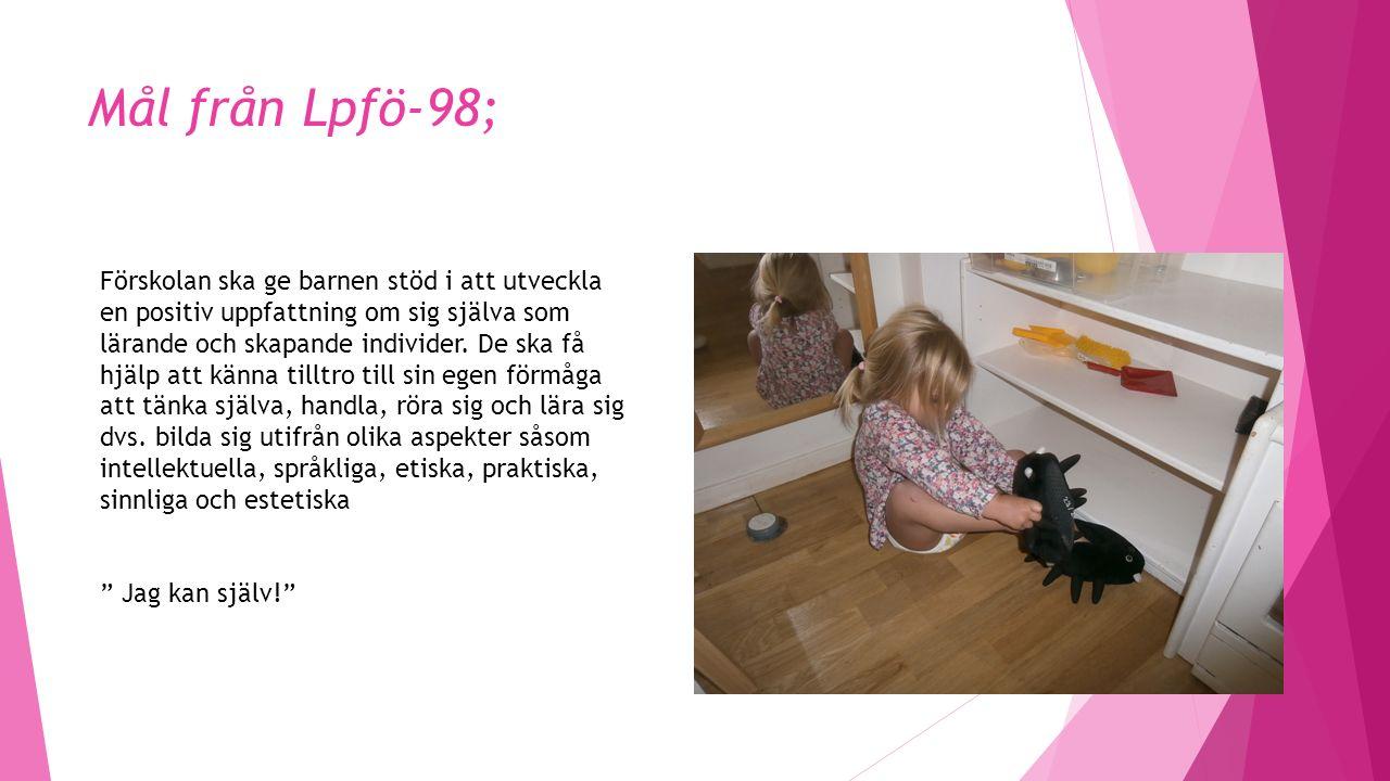 Mål från Lpfö-98; Förskolan ska ge barnen stöd i att utveckla en positiv uppfattning om sig själva som lärande och skapande individer.