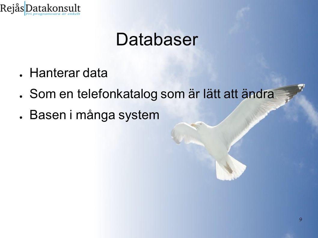 9 Databaser ● Hanterar data ● Som en telefonkatalog som är lätt att ändra ● Basen i många system