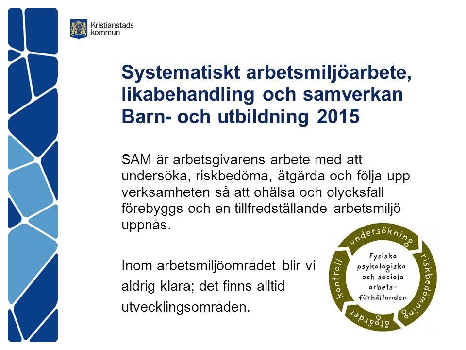 Systematiskt arbetsmiljöarbete, likabehandling och samverkan Barn- och utbildning 2015 SAM är arbetsgivarens arbete med att undersöka, riskbedöma, åtgärda och följa upp verksamheten så att ohälsa och olycksfall förebyggs och en tillfredställande arbetsmiljö uppnås.