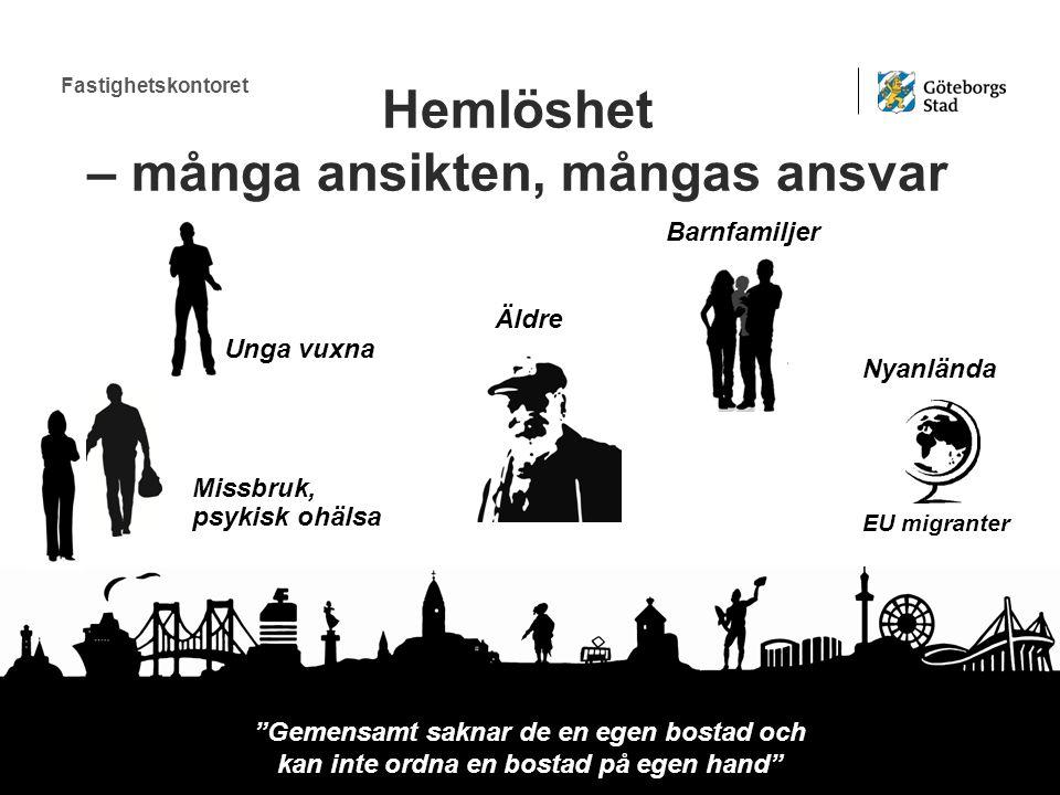 Fastighetskontoret Unga vuxna Äldre Nyanlända Barnfamiljer nor & män Missbruk, psykisk ohälsa Hemlöshet – många ansikten, mångas ansvar Gemensamt saknar de en egen bostad och kan inte ordna en bostad på egen hand EU migranter