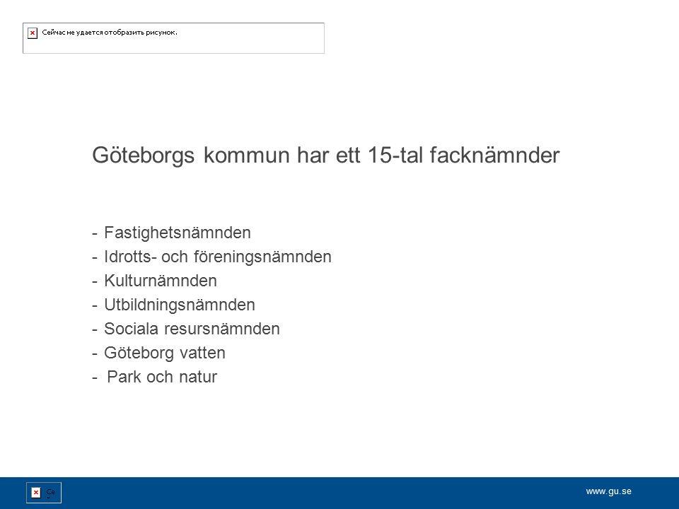 www.gu.se Göteborgs kommun har ett 15-tal facknämnder -Fastighetsnämnden -Idrotts- och föreningsnämnden -Kulturnämnden -Utbildningsnämnden -Sociala resursnämnden -Göteborg vatten - Park och natur