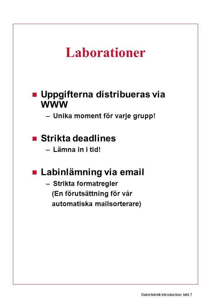 Datorteknik Introduction bild 7 Laborationer Uppgifterna distribueras via WWW –Unika moment för varje grupp! Strikta deadlines –Lämna in i tid! Labinl