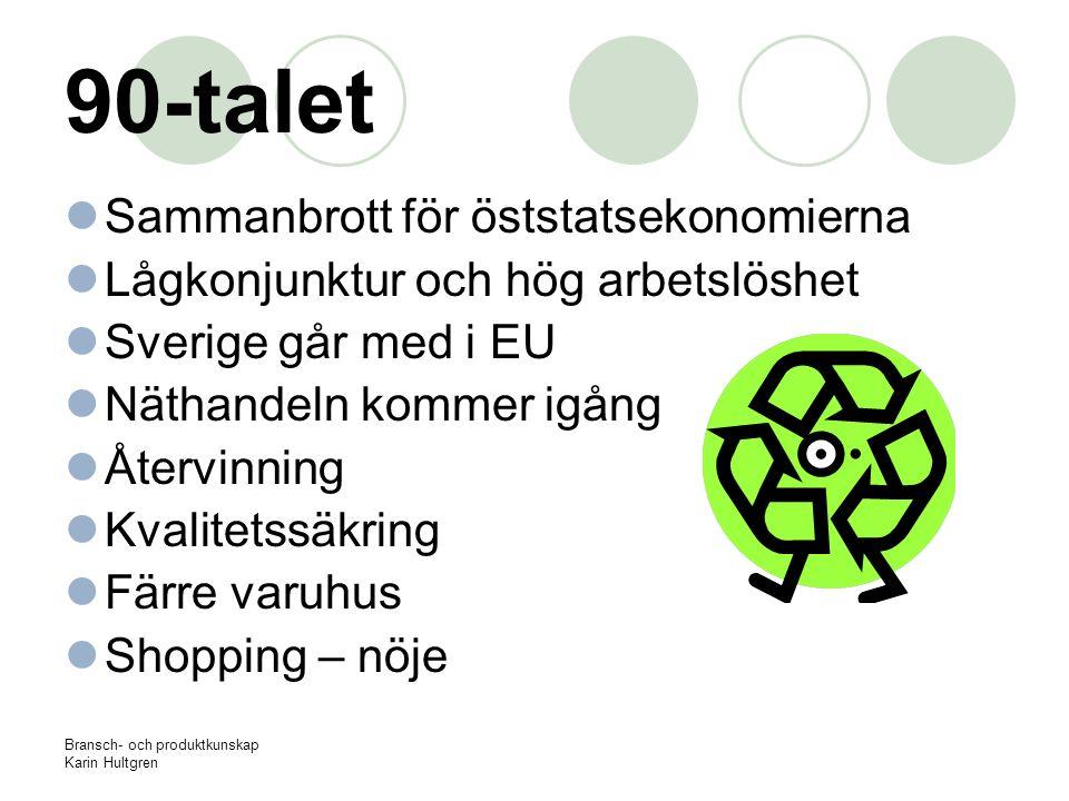 Bransch- och produktkunskap Karin Hultgren 90-talet Sammanbrott för öststatsekonomierna Lågkonjunktur och hög arbetslöshet Sverige går med i EU Näthan