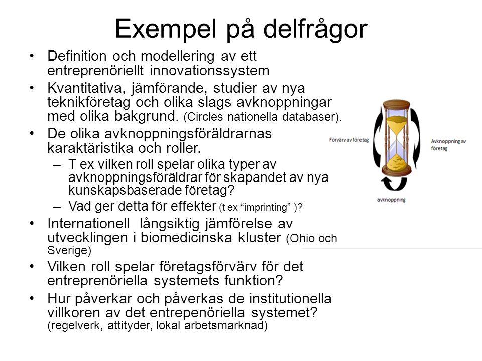 Exempel på delfrågor Definition och modellering av ett entreprenöriellt innovationssystem Kvantitativa, jämförande, studier av nya teknikföretag och olika slags avknoppningar med olika bakgrund.