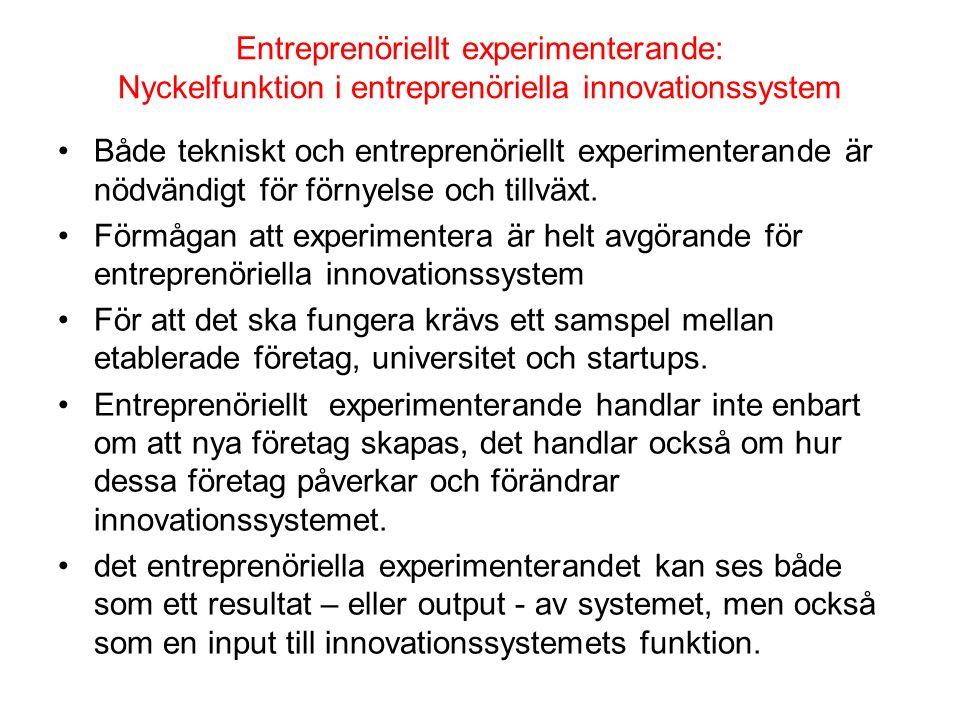 Entreprenöriellt experimenterande: Nyckelfunktion i entreprenöriella innovationssystem Både tekniskt och entreprenöriellt experimenterande är nödvändi