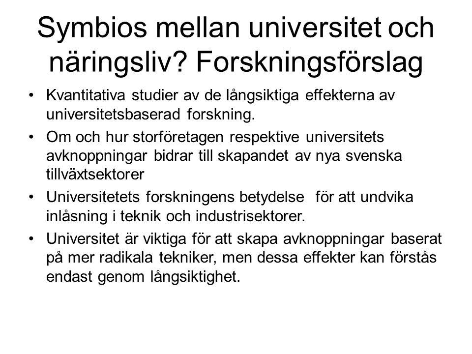 Symbios mellan universitet och näringsliv? Forskningsförslag Kvantitativa studier av de långsiktiga effekterna av universitetsbaserad forskning. Om oc