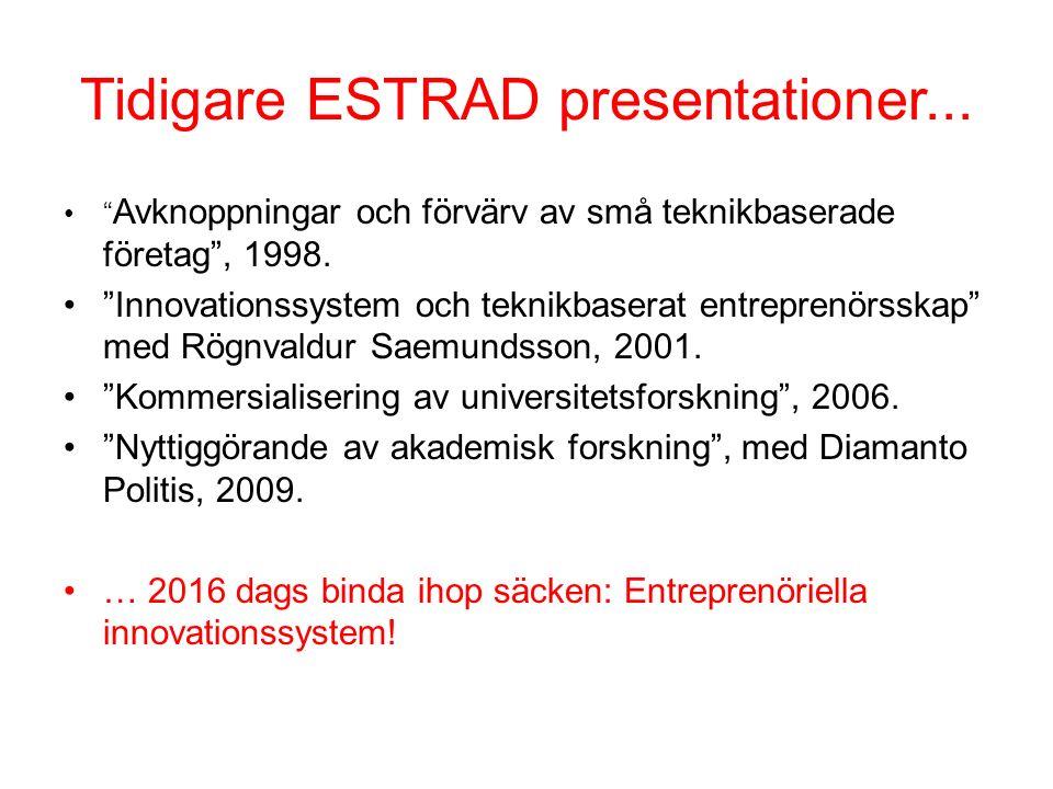 """Tidigare ESTRAD presentationer... """" Avknoppningar och förvärv av små teknikbaserade företag"""", 1998. """"Innovationssystem och teknikbaserat entreprenörss"""