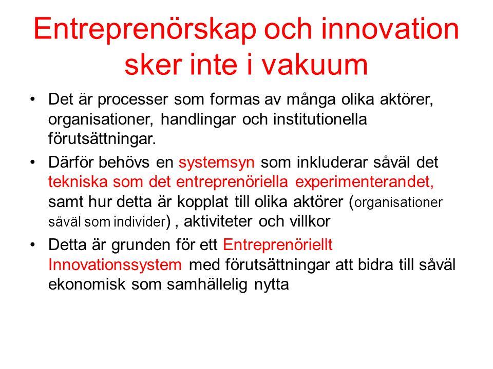 Entreprenörskap och innovation sker inte i vakuum Det är processer som formas av många olika aktörer, organisationer, handlingar och institutionella förutsättningar.