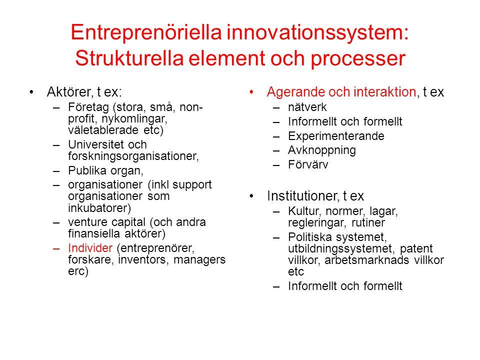 Entreprenöriella innovationssystem: Strukturella element och processer Aktörer, t ex: –Företag (stora, små, non- profit, nykomlingar, väletablerade et