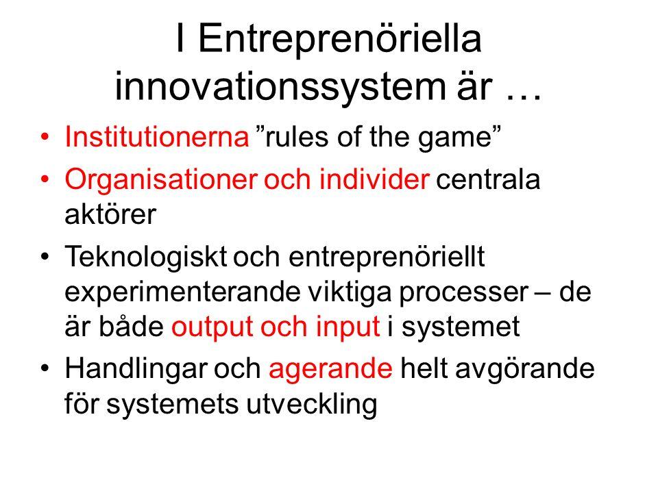 I Entreprenöriella innovationssystem är … Institutionerna rules of the game Organisationer och individer centrala aktörer Teknologiskt och entreprenöriellt experimenterande viktiga processer – de är både output och input i systemet Handlingar och agerande helt avgörande för systemets utveckling