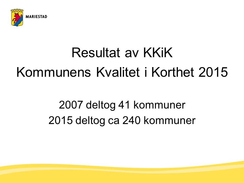 Resultat av KKiK Kommunens Kvalitet i Korthet 2015 2007 deltog 41 kommuner 2015 deltog ca 240 kommuner