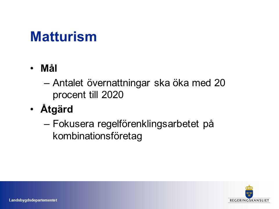 Landsbygdsdepartementet Matturism Mål –Antalet övernattningar ska öka med 20 procent till 2020 Åtgärd –Fokusera regelförenklingsarbetet på kombinationsföretag