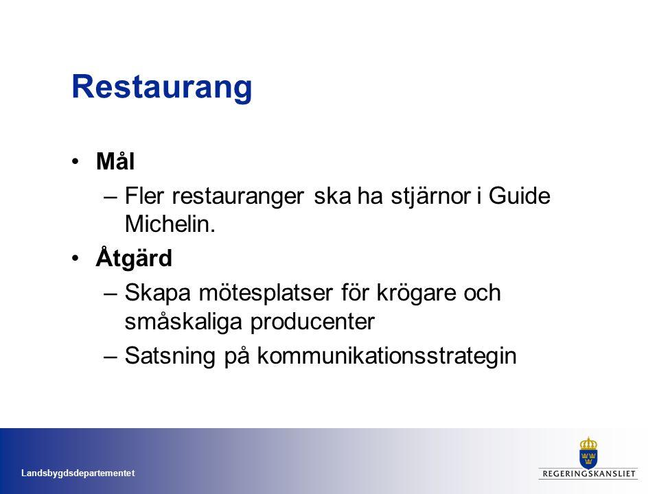 Landsbygdsdepartementet Restaurang Mål –Fler restauranger ska ha stjärnor i Guide Michelin.