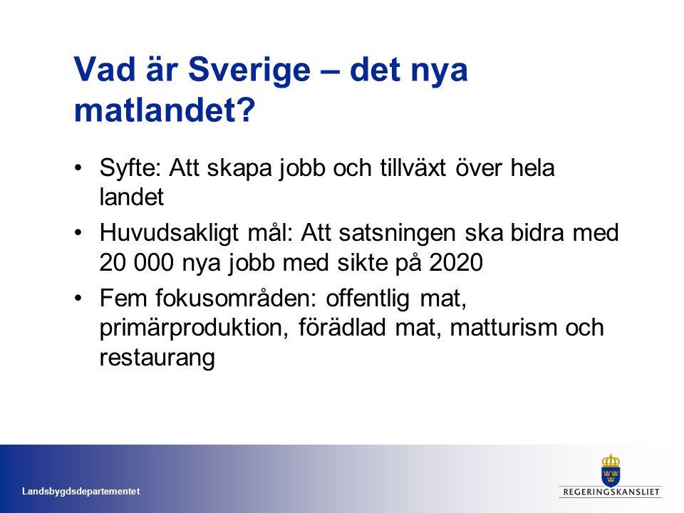 Landsbygdsdepartementet Vad är Sverige – det nya matlandet.
