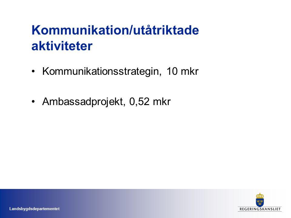 Landsbygdsdepartementet Kommunikation/utåtriktade aktiviteter Kommunikationsstrategin, 10 mkr Ambassadprojekt, 0,52 mkr