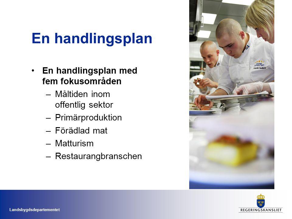 Landsbygdsdepartementet En handlingsplan En handlingsplan med fem fokusområden –Måltiden inom offentlig sektor –Primärproduktion –Förädlad mat –Matturism –Restaurangbranschen