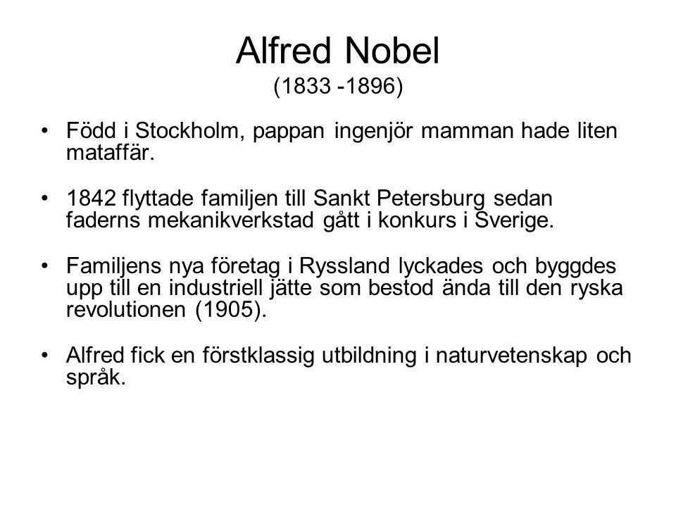 Återvände till Sverige, uppfann Dynamiten och flera andra sprängämnen, 350 patent.