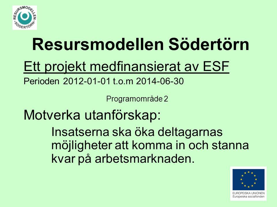Resursmodellen Södertörn Ett projekt medfinansierat av ESF Perioden 2012-01-01 t.o.m 2014-06-30 Programområde 2 Motverka utanförskap: Insatserna ska öka deltagarnas möjligheter att komma in och stanna kvar på arbetsmarknaden.