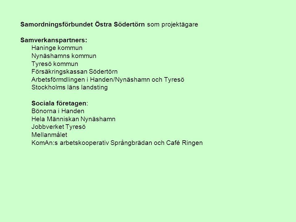 Samordningsförbundet Östra Södertörn som projektägare Samverkanspartners: Haninge kommun Nynäshamns kommun Tyresö kommun Försäkringskassan Södertörn Arbetsförmdlingen i Handen/Nynäshamn och Tyresö Stockholms läns landsting Sociala företagen: Bönorna i Handen Hela Människan Nynäshamn Jobbverket Tyresö Mellanmålet KomAn:s arbetskooperativ Språngbrädan och Café Ringen