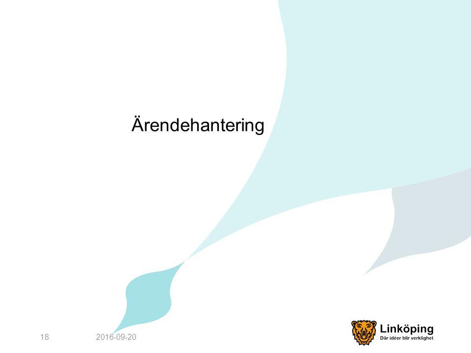Ärendehantering 2016-09-2018