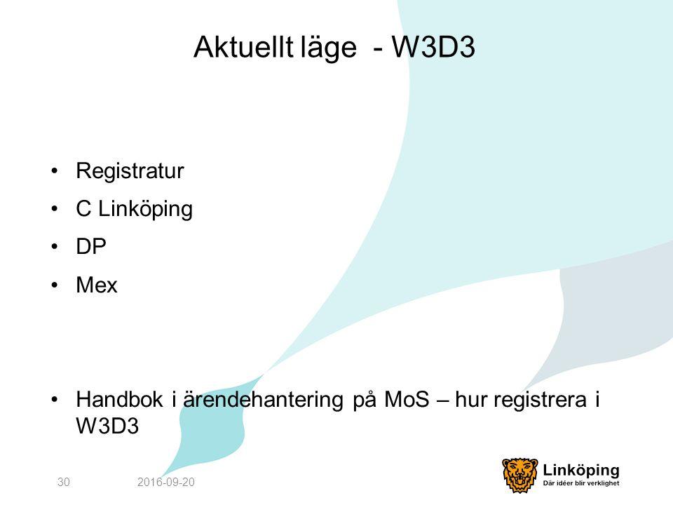 Aktuellt läge - W3D3 Registratur C Linköping DP Mex Handbok i ärendehantering på MoS – hur registrera i W3D3 2016-09-2030
