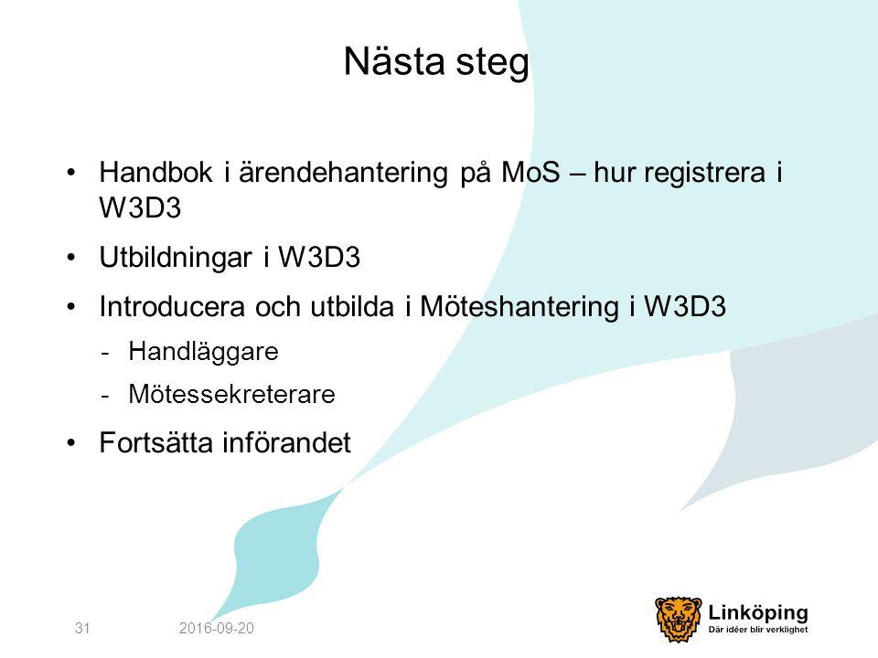 Nästa steg Handbok i ärendehantering på MoS – hur registrera i W3D3 Utbildningar i W3D3 Introducera och utbilda i Möteshantering i W3D3 -Handläggare -Mötessekreterare Fortsätta införandet 2016-09-2031