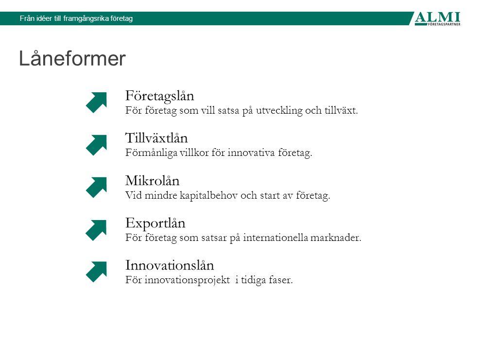 Från idéer till framgångsrika företag Låneformer Företagslån För företag som vill satsa på utveckling och tillväxt.