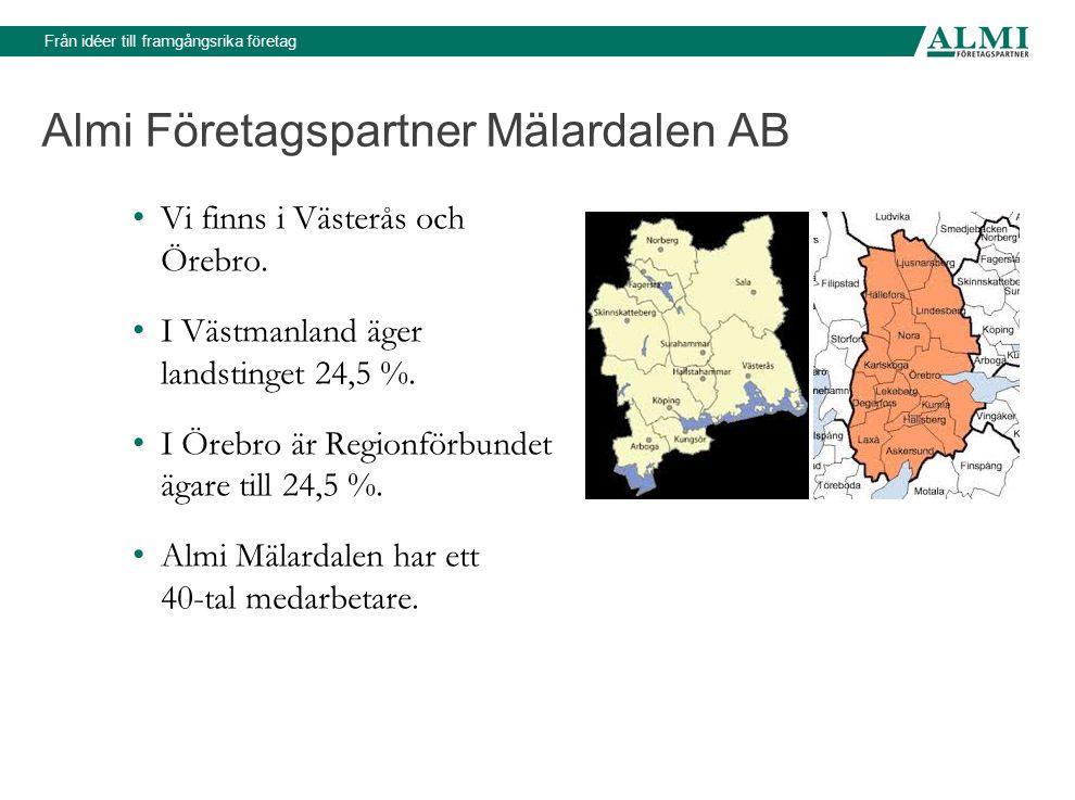 Från idéer till framgångsrika företag Almi Företagspartner Mälardalen AB Vi finns i Västerås och Örebro.