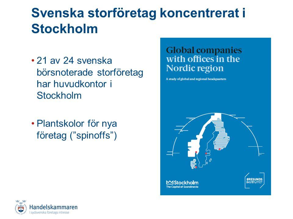 21 av 24 svenska börsnoterade storföretag har huvudkontor i Stockholm Plantskolor för nya företag ( spinoffs ) Svenska storföretag koncentrerat i Stockholm