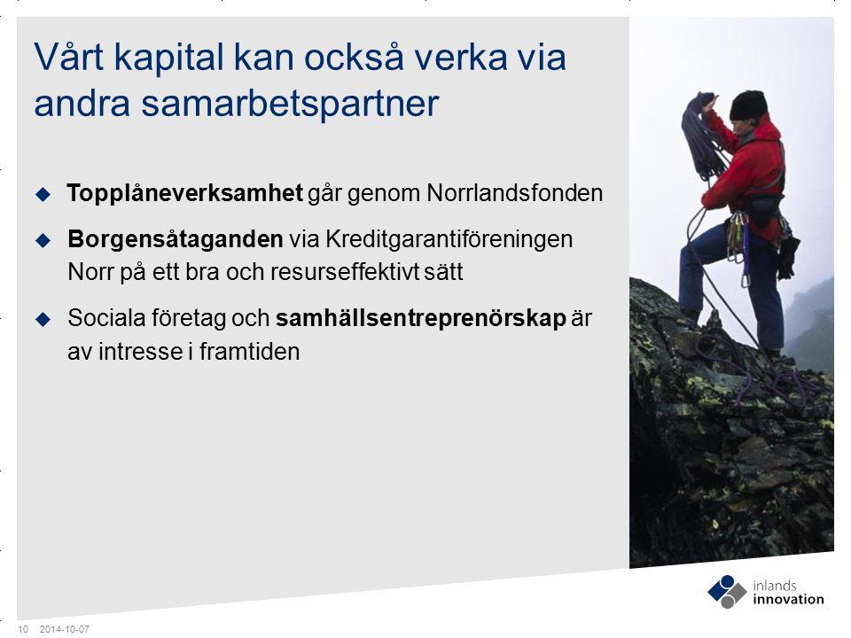 GUIDES MITTEN x RUBRIK OCH PUNKTLISTA ¼ FOTO Vårt kapital kan också verka via andra samarbetspartner  Topplåneverksamhet går genom Norrlandsfonden 