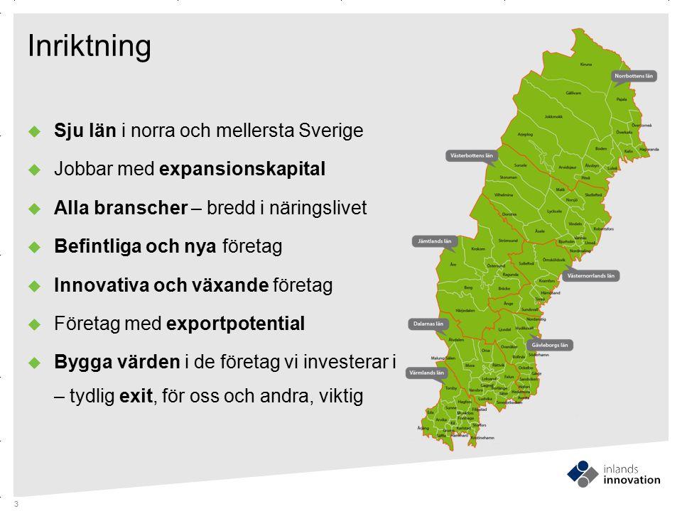 GUIDES MITTEN x RUBRIK OCH PUNKTLISTA Inriktning  Sju län i norra och mellersta Sverige  Jobbar med expansionskapital  Alla branscher – bredd i när