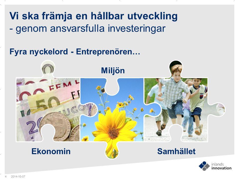 GUIDES MITTEN x RUBRIK Vi ska främja en hållbar utveckling - genom ansvarsfulla investeringar Fyra nyckelord - Entreprenören… 2014-10-07 4 Ekonomin Mi