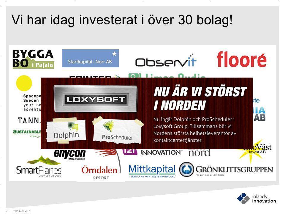 GUIDES MITTEN x RUBRIK OCH PUNKTLISTA Vi har idag investerat i över 30 bolag! 2014-10-07 7