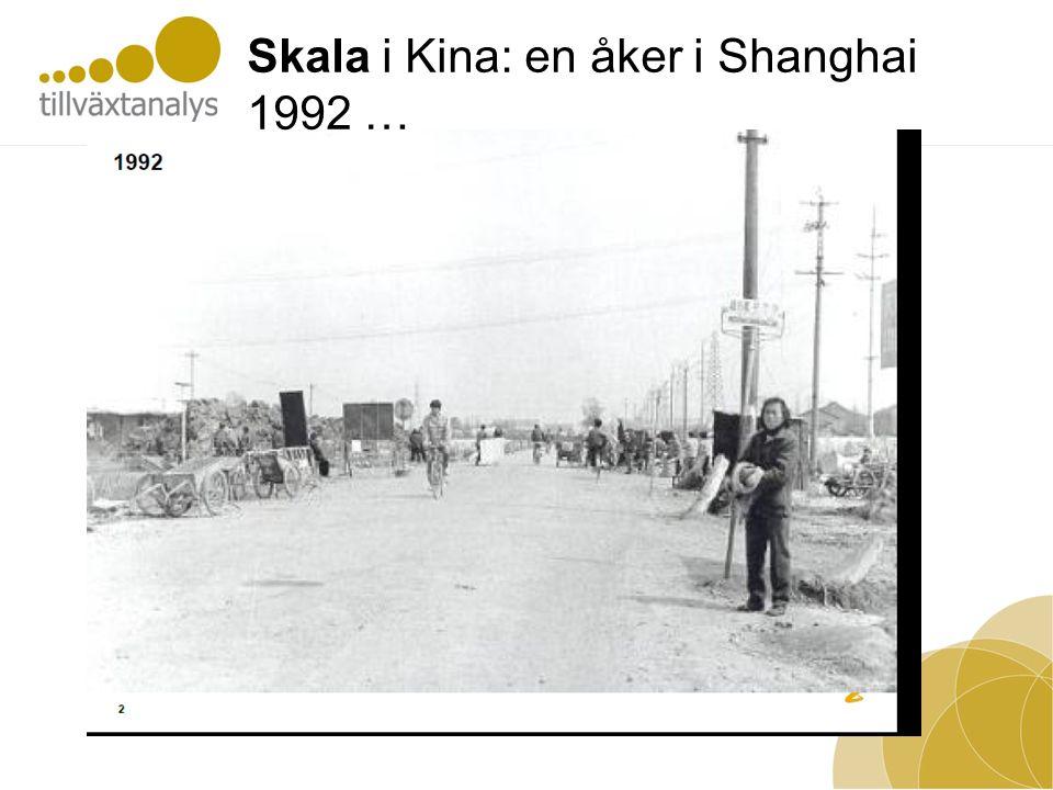 Skala i Kina: en åker i Shanghai 1992 …