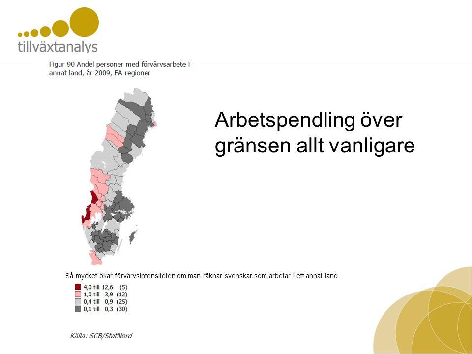 Arbetspendling över gränsen allt vanligare Så mycket ökar förvärvsintensiteten om man räknar svenskar som arbetar i ett annat land