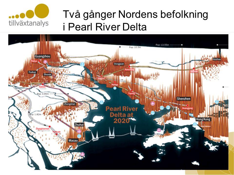 Två gånger Nordens befolkning i Pearl River Delta
