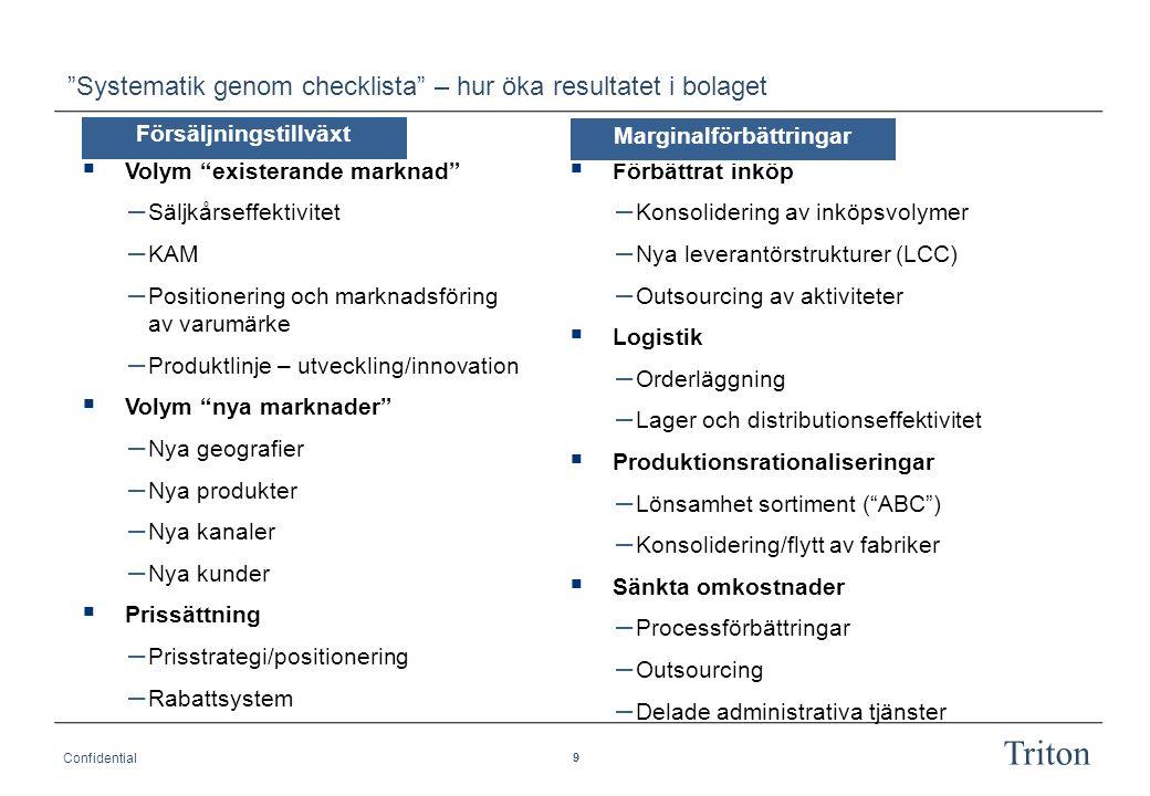 9 Confidential Triton Systematik genom checklista – hur öka resultatet i bolaget  Förbättrat inköp – Konsolidering av inköpsvolymer – Nya leverantörstrukturer (LCC) – Outsourcing av aktiviteter  Logistik – Orderläggning – Lager och distributionseffektivitet  Produktionsrationaliseringar – Lönsamhet sortiment ( ABC ) – Konsolidering/flytt av fabriker  Sänkta omkostnader – Processförbättringar – Outsourcing – Delade administrativa tjänster Försäljningstillväxt  Volym existerande marknad – Säljkårseffektivitet – KAM – Positionering och marknadsföring av varumärke – Produktlinje – utveckling/innovation  Volym nya marknader – Nya geografier – Nya produkter – Nya kanaler – Nya kunder  Prissättning – Prisstrategi/positionering – Rabattsystem Marginalförbättringar