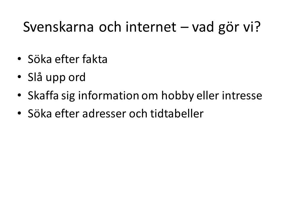 Svenskarna och internet – vad gör vi.