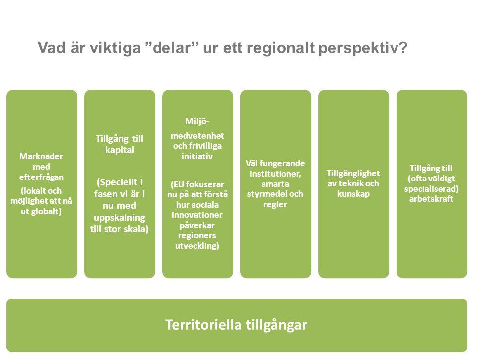 """Vad är viktiga """"delar"""" ur ett regionalt perspektiv? Territoriella tillgångar Marknader med efterfrågan (lokalt och möjlighet att nå ut globalt) Tillgå"""