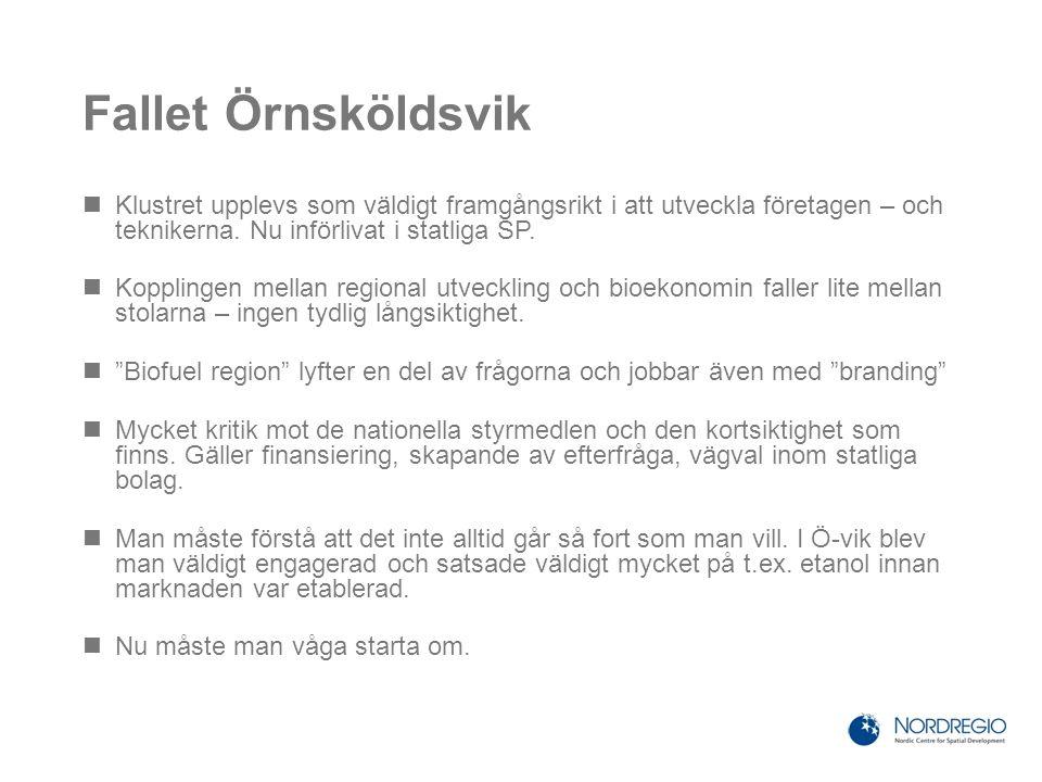 Fallet Örnsköldsvik Klustret upplevs som väldigt framgångsrikt i att utveckla företagen – och teknikerna. Nu införlivat i statliga SP. Kopplingen mell