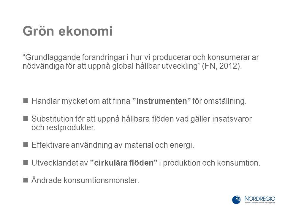 """Grön ekonomi """"Grundläggande förändringar i hur vi producerar och konsumerar är nödvändiga för att uppnå global hållbar utveckling"""" (FN, 2012). Handlar"""