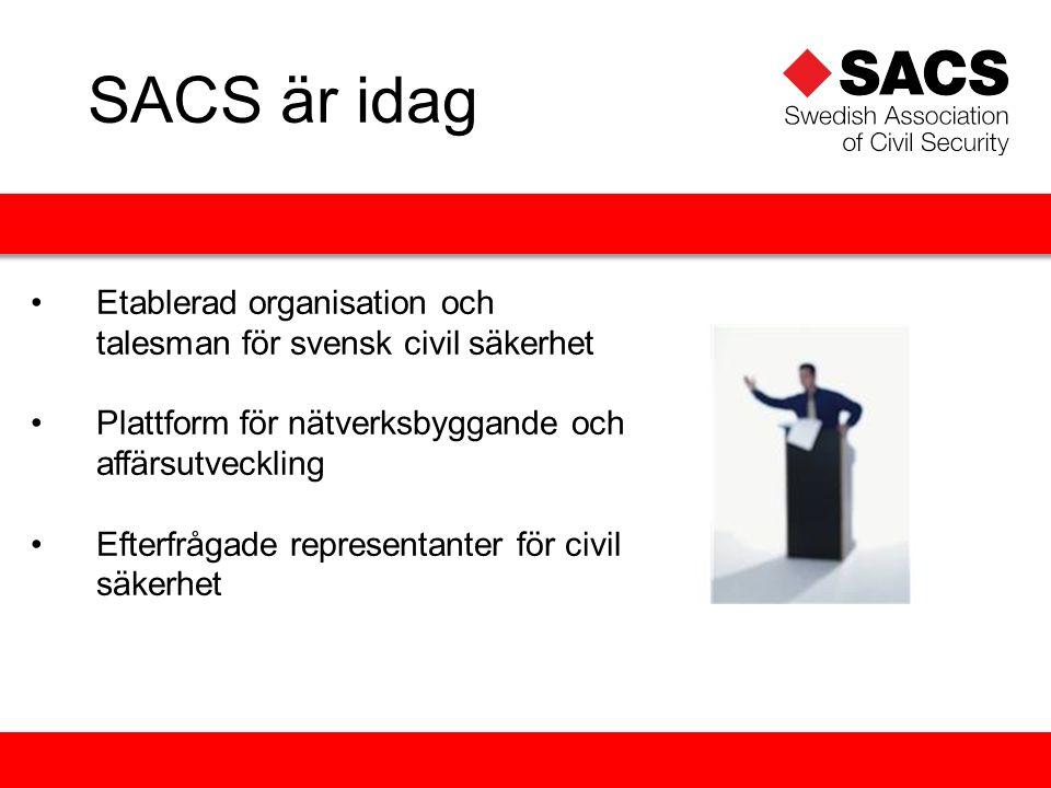 Etablerad organisation och talesman för svensk civil säkerhet Plattform för nätverksbyggande och affärsutveckling Efterfrågade representanter för civil säkerhet SACS är idag