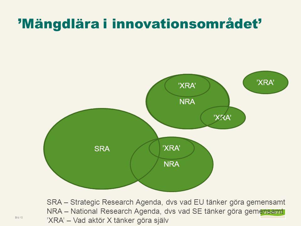 Infogad sidfot, datum och sidnummer syns bara i utskrift (infoga genom fliken Infoga -> Sidhuvud/sidfot) NRA 'Mängdlära i innovationsområdet' Bild 13 SRA 'XRA' SRA – Strategic Research Agenda, dvs vad EU tänker göra gemensamt NRA – National Research Agenda, dvs vad SE tänker göra gemensamt 'XRA' – Vad aktör X tänker göra själv NRA 'XRA'
