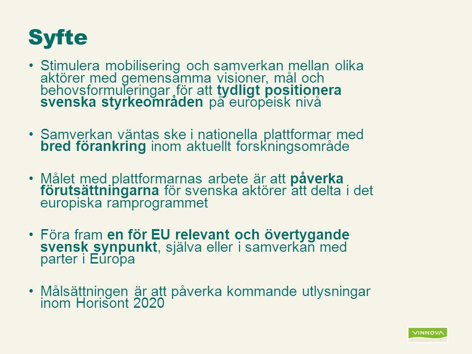 Infogad sidfot, datum och sidnummer syns bara i utskrift (infoga genom fliken Infoga -> Sidhuvud/sidfot) Syfte Stimulera mobilisering och samverkan mellan olika aktörer med gemensamma visioner, mål och behovsformuleringar för att tydligt positionera svenska styrkeområden på europeisk nivå Samverkan väntas ske i nationella plattformar med bred förankring inom aktuellt forskningsområde Målet med plattformarnas arbete är att påverka förutsättningarna för svenska aktörer att delta i det europiska ramprogrammet Föra fram en för EU relevant och övertygande svensk synpunkt, själva eller i samverkan med parter i Europa Målsättningen är att påverka kommande utlysningar inom Horisont 2020