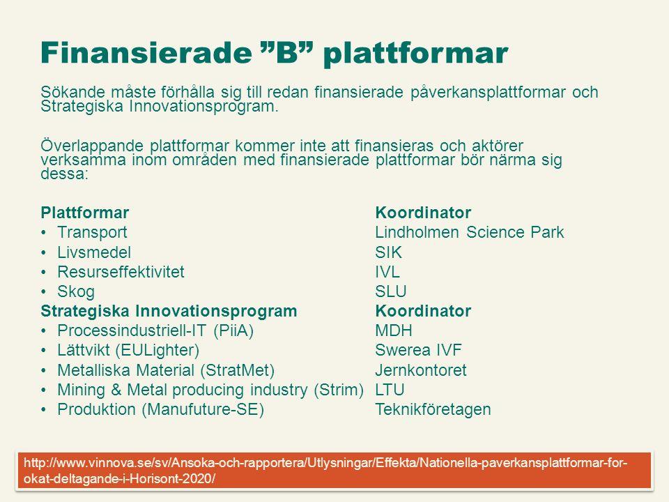 Infogad sidfot, datum och sidnummer syns bara i utskrift (infoga genom fliken Infoga -> Sidhuvud/sidfot) Finansierade B plattformar Sökande måste förhålla sig till redan finansierade påverkansplattformar och Strategiska Innovationsprogram.