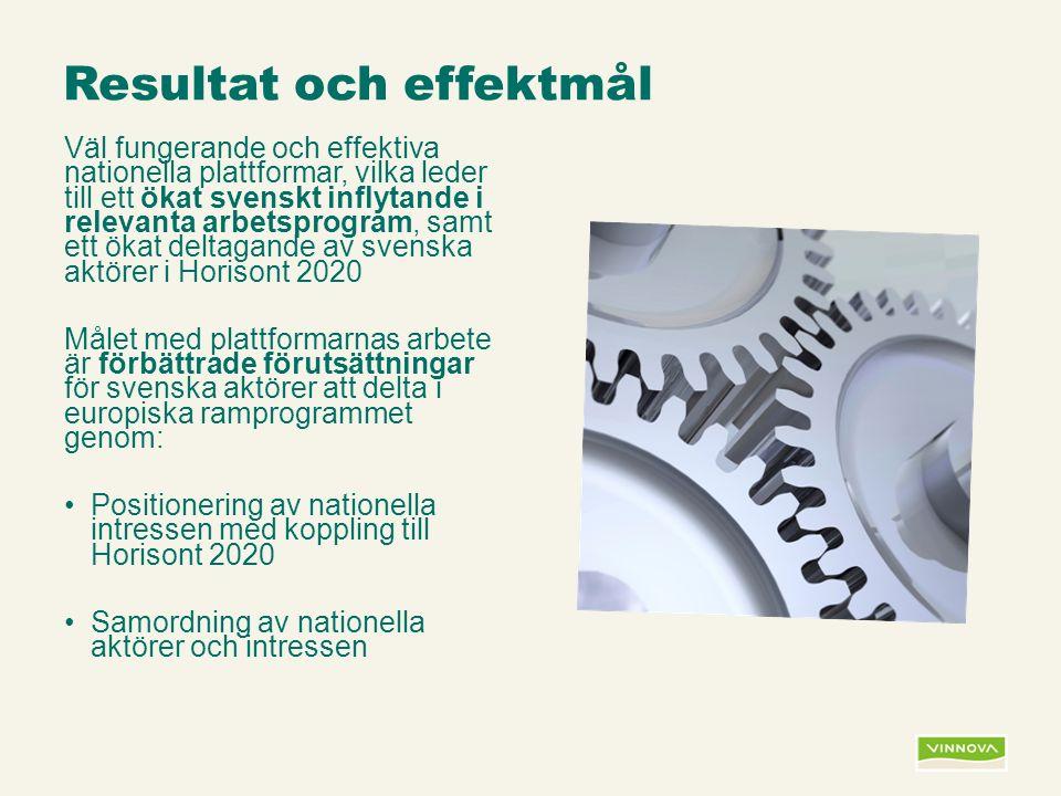 Infogad sidfot, datum och sidnummer syns bara i utskrift (infoga genom fliken Infoga -> Sidhuvud/sidfot) Resultat och effektmål Väl fungerande och effektiva nationella plattformar, vilka leder till ett ökat svenskt inflytande i relevanta arbetsprogram, samt ett ökat deltagande av svenska aktörer i Horisont 2020 Målet med plattformarnas arbete är förbättrade förutsättningar för svenska aktörer att delta i europiska ramprogrammet genom: Positionering av nationella intressen med koppling till Horisont 2020 Samordning av nationella aktörer och intressen
