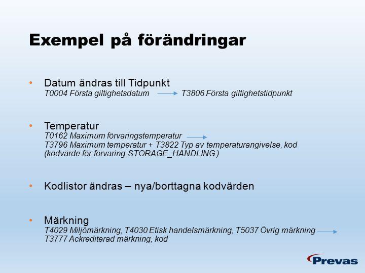 Exempel på förändringar Datum ändras till Tidpunkt T0004 Första giltighetsdatum T3806 Första giltighetstidpunkt Temperatur T0162 Maximum förvaringstemperatur T3796 Maximum temperatur + T3822 Typ av temperaturangivelse, kod (kodvärde för förvaring STORAGE_HANDLING ) Kodlistor ändras – nya/borttagna kodvärden Märkning T4029 Miljömärkning, T4030 Etisk handelsmärkning, T5037 Övrig märkning T3777 Ackrediterad märkning, kod