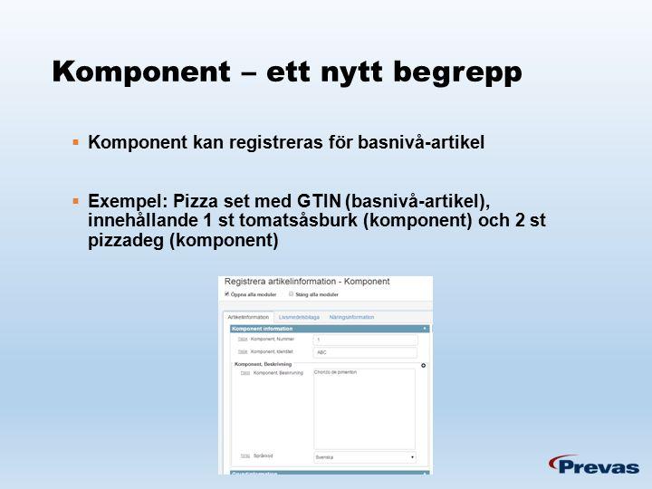 Komponent – ett nytt begrepp  Komponent kan registreras för basnivå-artikel  Exempel: Pizza set med GTIN (basnivå-artikel), innehållande 1 st tomatsåsburk (komponent) och 2 st pizzadeg (komponent)